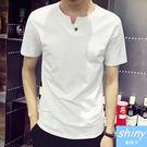 【Y107】shiny藍格子-純淨時尚.夏裝潮男修身V領鈕釦造型短袖上衣