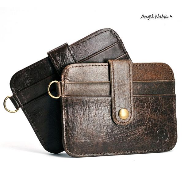 真皮卡包-簡約超薄牛皮卡包證件包4卡格可放駕照千元鈔 AngelNaNa (SMA0296)