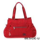 Backbager 背包族【英國 BESIDE-U】EMBOSSING系列 壓紋輕旅梯型肩背包-紅色