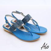 A.S.O 軟芯系列 動物紋水鑽T字減壓涼鞋 藍色