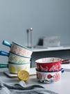 日式ins網紅創意餐具好看可愛單個手柄烤碗家用沙拉早餐陶瓷面碗