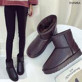 低溫必備亮皮保暖雪靴短靴【KY9498】黑/咖啡(偏小2碼)