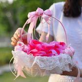 結婚花童假花現場韓式婚禮手提花瓣花籃編織撒花籃子婚慶陪嫁用品 促銷價