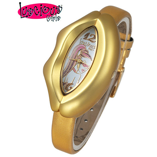 Luscious Girls浪漫少女 性感紅唇時尚造型女錶(LG015D埃及金)
