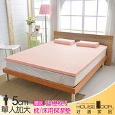 House Door 大和布套 5cm乳膠床墊抗菌保潔組-單大3.5尺(甜美粉)