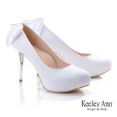 ★2019秋冬★Keeley Ann優雅新娘 後跟水鑽緞帶蝴蝶結高跟鞋(白色)