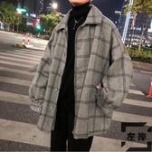 冬季外套男潮流呢子中長款格子風衣秋冬男裝【左岸男裝】
