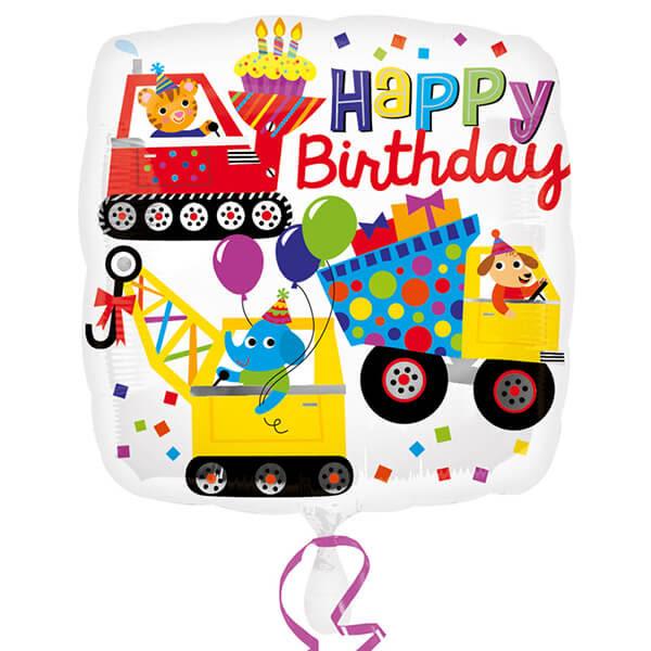 18吋鋁箔氣球(不含氣)-生日工程車
