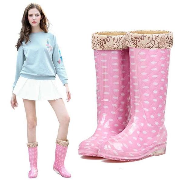 冬季高筒雨鞋女加絨保暖棉水鞋加厚雨靴長筒