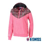 K-SWISS V-Shap Pannel Jacket印花風衣外套-女-花漾/粉