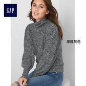 Gap女裝 時尚燈籠袖半高領長袖針織衫 163821-深煙灰色