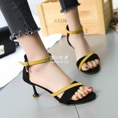 涼鞋女韓版中跟百搭性感露趾細跟5厘米高跟高跟鞋『伊莎公主』