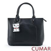 【CUMAR女包】俏皮小狗吊飾手提包-黑色