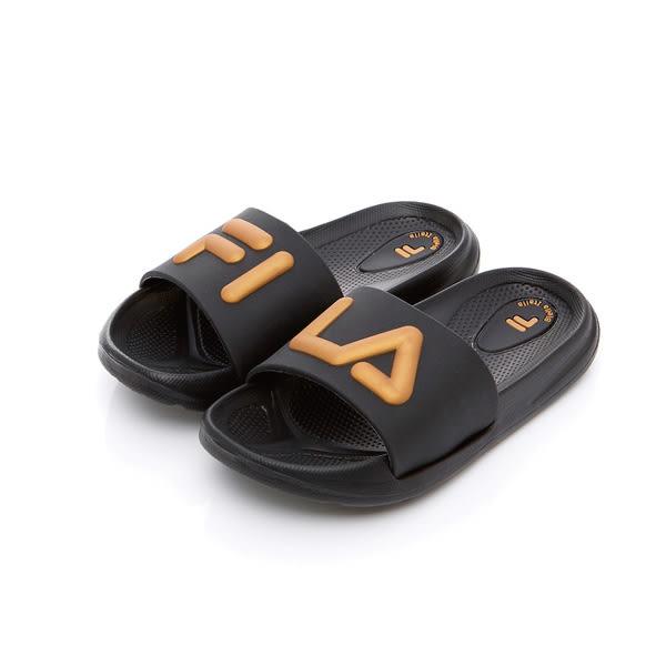 FILA 中童MD撞色拖鞋-黑金(16~21cm)