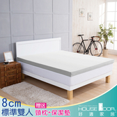 House Door 吸濕排濕 8cm乳膠記憶床墊雙享組-雙人5尺(月光白)