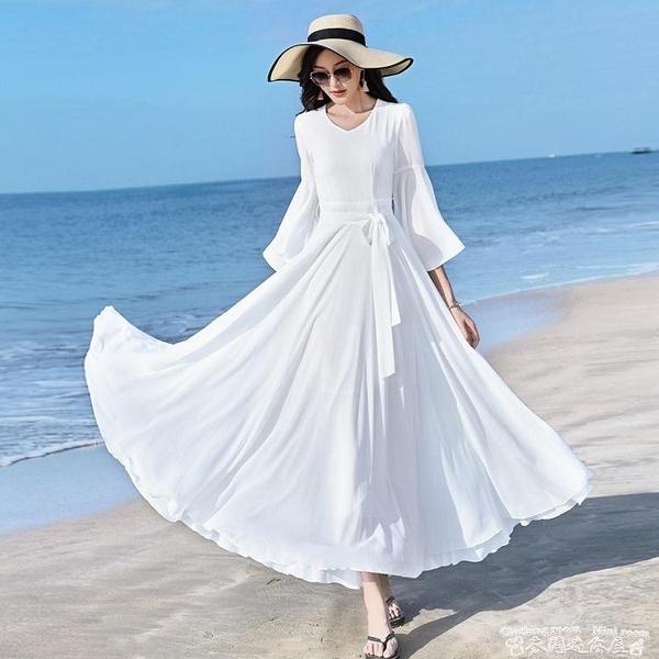 雪紡洋裝2021新款春夏女V領素色雪紡大荷葉袖連身裙修身顯瘦收腰大擺長裙 迷你屋 618狂歡
