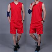 棉質無袖套裝男士夏季健身房跑步運動服背心短褲加肥大碼休閒薄款