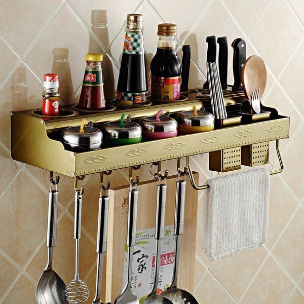 小熊居家多功能廚房置物架壁掛 太空鋁收納刀架調味架子加厚掛件特價