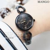 MANGO 星芒晶鑽輕巧手鍊女錶 藍寶石水晶防水手錶 金xIP黑電鍍 MA6730L-88K