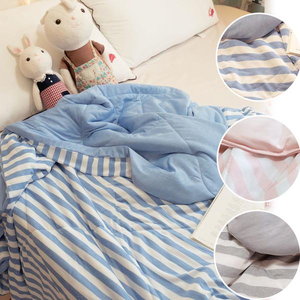 棉床本舖 日系條紋涼感被 涼感纖維 Q-Max值達0.328 三色可選 輕膚涼爽