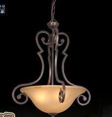 設計師美術精品館歐式 美式單頭餐廳吊燈簡歐式吧臺鐵藝燈具 書房玄關燈飾6096-3P