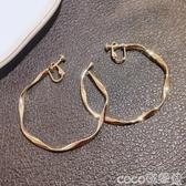 耳環螺紋耳夾無耳洞耳飾歐美夸張大耳圈網紅高級感耳環簡約耳釘女純銀 COCO