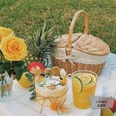 野餐籃子用品全套竹籃編織手提籃田園野炊藤編收納籃【小檸檬3C】