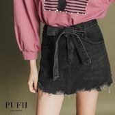 (現貨)PUFII-褲裙 綁帶造型鬚鬚丹寧牛仔短褲裙 2色-1018 現+預 秋【CP15377】
