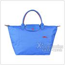 LONGCHAMP COLLECTION刺繡LOGO尼龍摺疊短把拉鍊手提包(中/藍紫x紅)