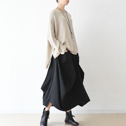 裙子-寬鬆大碼文藝小清新棉抽繩不規則-設計家