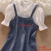 假兩件牛仔裙女夏季學院風甜美氣質顯瘦連身裙【CH伊諾】