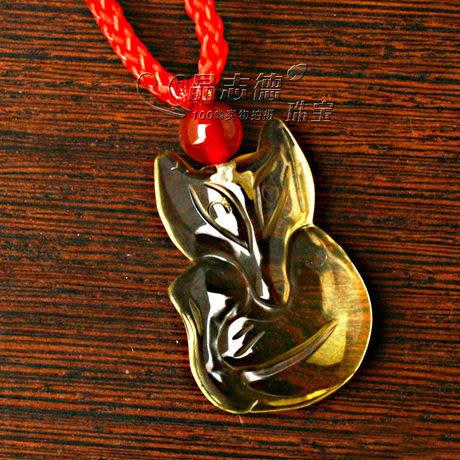 黃水晶狐狸吊墜/智慧的象征