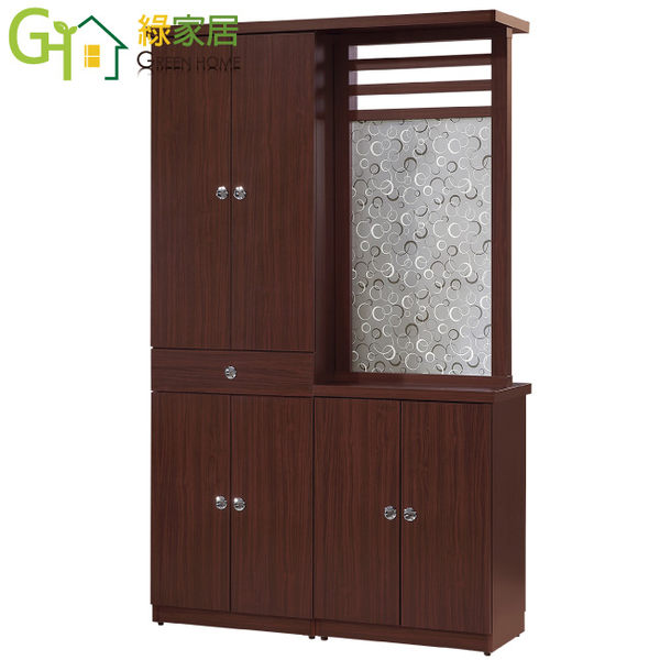 【綠家居】拉彼斯 時尚4尺木紋雙面隔間櫃/玄關櫃組合(二色可選)