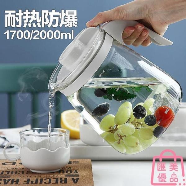 涼水壺高硼硅玻璃冷水壺大容量涼白開水壺耐高溫茶水壺泡茶壺【匯美優品】