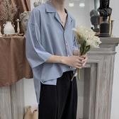 網紅襯衫男短袖潮流韓版港風寬鬆襯衣外套潮 育心小館