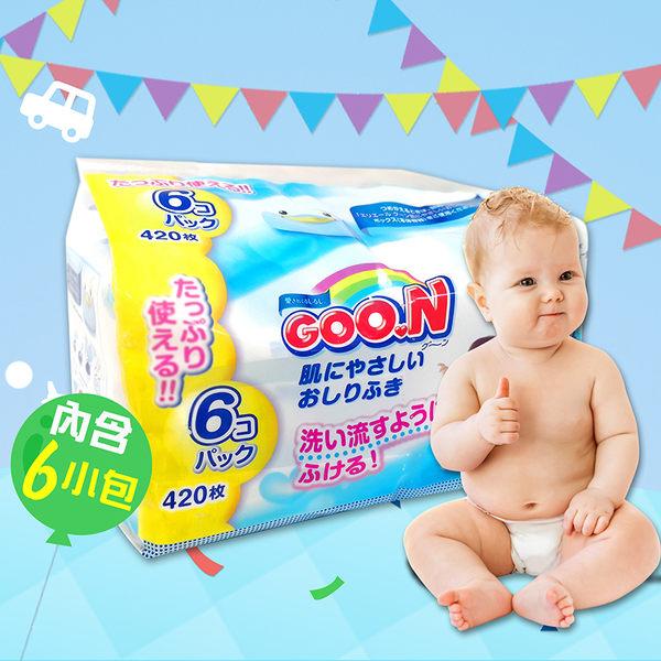 日本大王境內版99%純水嬰兒護膚濕紙巾 (70枚X6包)