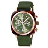 BRISTON CLUBMASTER 經典雙眼計時腕錶-時尚軍綠