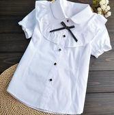 女童襯衫夏兒童襯衫大童短袖韓版條紋純棉
