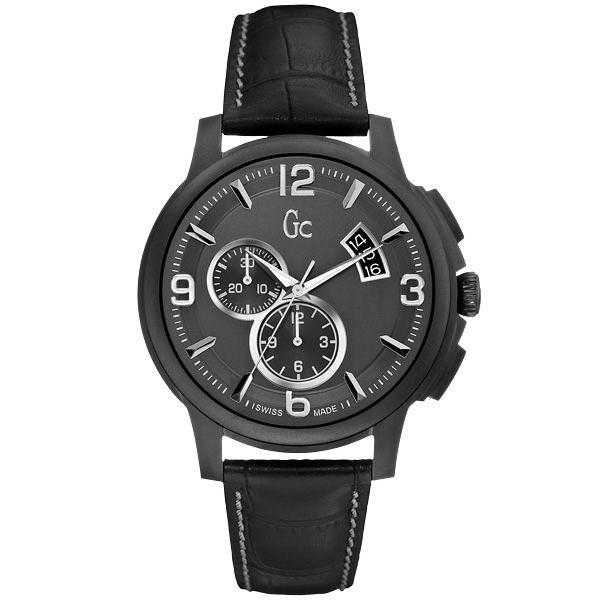 Gc 卓越魅力都會計時腕錶(皮帶-灰黑)~SWISS MADE