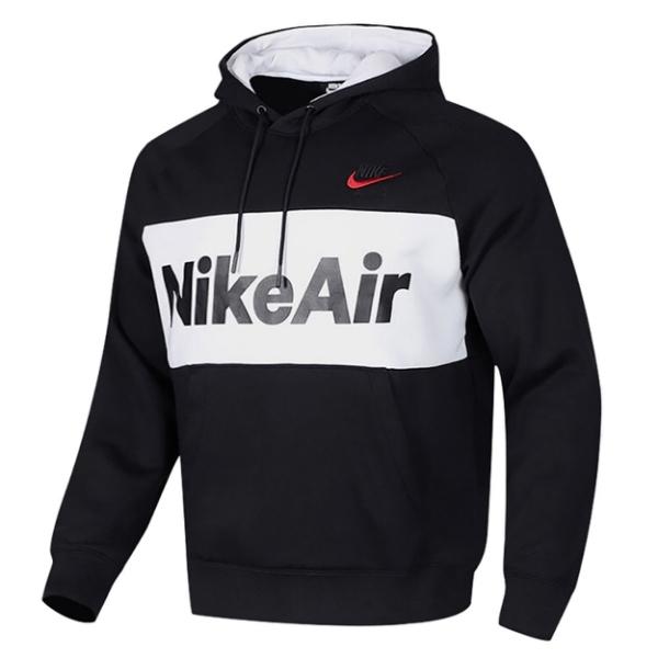 【陸壹捌折後$2480】Nike Air Hoodie 男裝 長袖 連帽 帽T 休閒 刷毛 拼接 黑 白 CJ4825-010