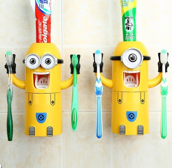 【發現。好貨】小小兵 神偷奶爸 可愛卡通自動擠牙膏器 小小兵牙刷架 漱口杯 浴室收納置物架
