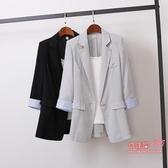 西裝外套 2020韓版棉麻中長款寬鬆小西裝外套大碼女裝休閒時尚小西服女裝秋 2色M-4XL