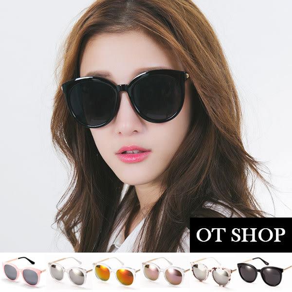 OT SHOP太陽眼鏡‧韓風金屬鏡腳復古圓框墨鏡‧黑色/黑反光/大理石紋‧現貨‧H42