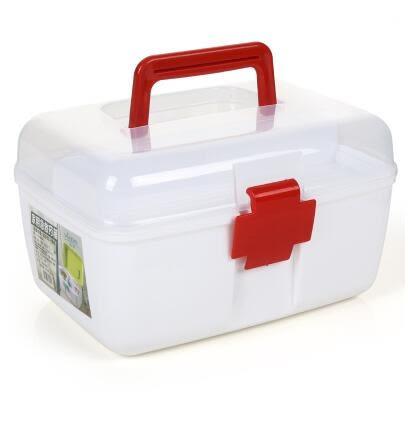 沃之沃  家庭用中號藥箱 家用裝藥品收納箱-(紅色透明)炫彩店