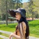 帽子遮陽帽女防曬遮臉空頂帽防紫外線無頂大帽檐漁夫帽騎車太陽帽 依凡卡時尚
