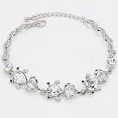 手鍊 925純銀水晶銀飾-可愛動物生日母親節禮物女手鏈4色73ak73【時尚巴黎】