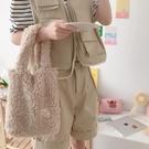手提包 春新款簡約ins風百搭韓版可愛羊羔毛毛絨學生女布包手提小拎袋【快速出貨八折鉅惠】
