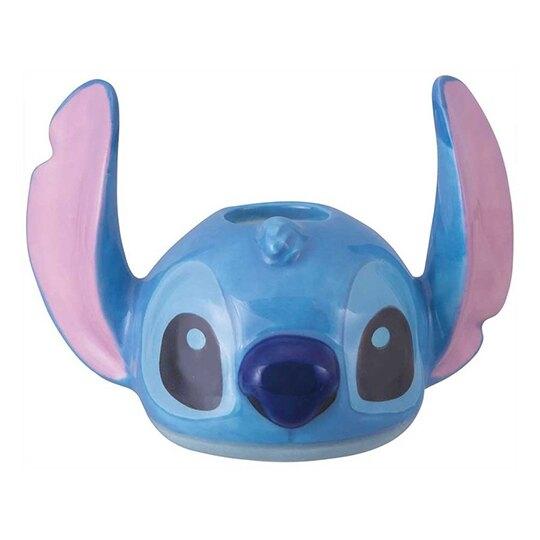 小禮堂 迪士尼 史迪奇 造型陶瓷牙刷架 牙刷座 筆架 (藍 大臉) 4942423-25897