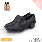 裸靴-TTSNAP 簡約尖頭顯瘦靜音中跟鞋 黑/駝