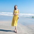 2019夏季新款女裝法式復古山本海邊度假...